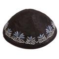 Embroidered Kippah Flowers BLACK (EM-YME-9BL)
