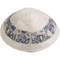 Embroidered Kippah GREY / BLUE (EM-YME-10GR)