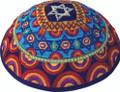 Embroidered Kippah - Magen David Multi-colors (EM-YME-11M)