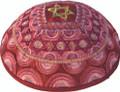 Embroidered Kippah - Magen David Pink (EM-YME-11P)