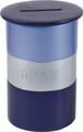 Anodized Aluminum Tzedakah Box Round Blue/Silver (EM-TZA2)