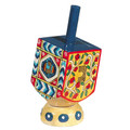 Emanuel Painted Small Dreidel With Stand (Nes Haya PO) (EM-DRS-4A)