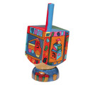 Emanuel Painted Small Dreidel With Stand (Nes Haya PO) (EM-DRS-8A)