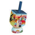 Emanuel Painted Small Dreidel With Stand (Nes Haya PO) (EM-DRS-9A)