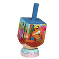Emanuel Painted Small Dreidel With Stand (Nes Haya PO) (EM-DRS-12A)