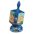 Emanuel Painted Large Dreidel With Stand (Nes Haya PO) (EM-DRL-1A)