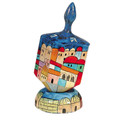 Emanuel Painted Large Dreidel With Stand (Nes Haya PO) (EM-DRL-3A)
