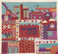 Hand Embroidered Matza Cover Jerusalem Colored (EM-MHE1)