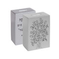 Anodized Tzedakah Box Square with Print - Silver (EM-TZB1)
