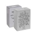 Anodized Tzedakah Box Square with Print - Silver (EM-TZB1)