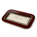Wood and Silverplate Challah Tray with Glass Insert (CB-P027G)