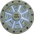 "Glass Rosh Hashana ""Simanim"" Plate- Pomegranates (HD-59048)"