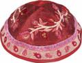 Emanuel Embroidered Kippah, Pomegranates, Pink (EM-YME13P)