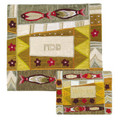 EM-MAS7 Raw Silk Matzah Cover- Fish Gold