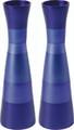 EM-CML1 Anodized Aluminum Long Shabbat Candlesticks - Blue