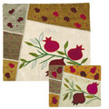 Raw Silk Matzah Cover Pomegranates Gold (EM-MAS3)