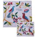 Raw Silk Matzah Cover -Birds Blue (EM-MAS25)