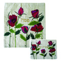 Raw Silk Matzah Cover -Roses White (EM-MAS37)