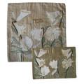Raw Silk Matzah Cover -Lily Silver (EM-MAS39)