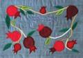 Raw Silk Afikomen Bag -Pomegranates Blue (EM-AFR36)