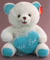 Large White Teddy Bear with Blue Mazel Tov Heart (79780)