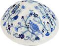 Emanuel Embroidered Kippah Bird-Flowers Blue (EM-YME12B)