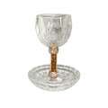 Crystal Kiddush Cup w/ Rose Gold accent and Stones (KC-X1940A)