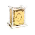 Crystal & Gold Plate Tzedakah Box with Crushed Glass (TZ-X2276RZ)