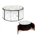 Wood & Glass Mirror 3-Tier Seder Plate (P-X2746A)