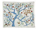 Challah Cover Tree Of Life Raw Silk-White / Multi ( 111802 )