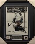 Johnny Bower Signed B&W Maple Leafs 11x14 Framed
