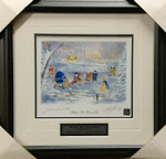 Bower & Cheevers Signed 8x10 Framed Bruins Leafs Lithograph