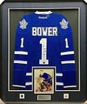 Johnny Bower 'Blue' Signed Framed Jersey