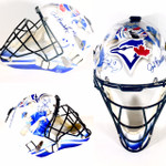 Jose Bautista , J.P Arencibia & Brett Lawrie Signed Blue Jays Catchers Mask