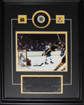 Bobby Orr Autographed Boston Bruins Puck Framed 8x10 Photo