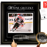 Gretzky Autographed 16x20 Edmonton Oilers with Etched Glass WGA