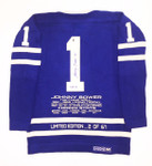 Johnny Bower Signed Limited Edition Stats Toronto Maple Leafs Vintage Wool Jersey