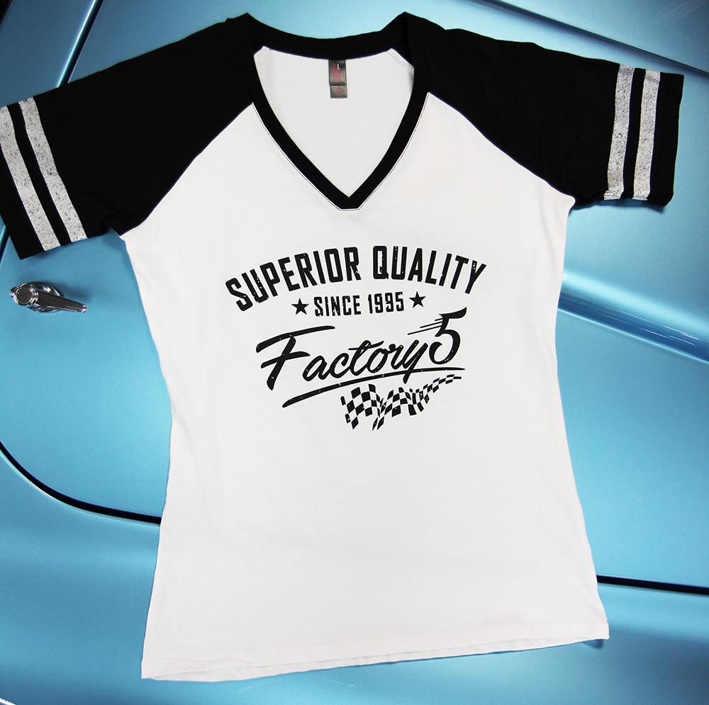 "#16343 - Factory Five ""Superior Quality"" Women's V-Neck Baseball Shirt"