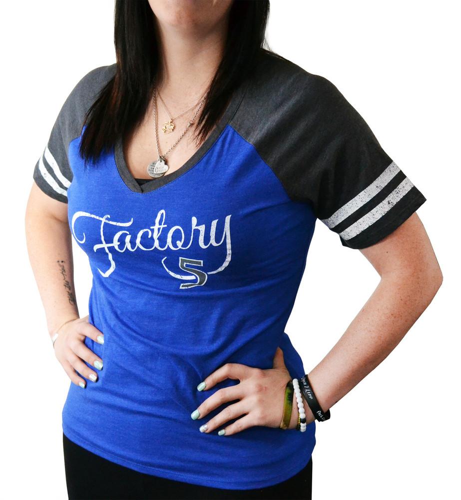 Women's Blue & Gray Baseball T-Shirt