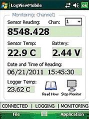 Datalogging and Monitoring screen.