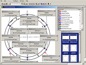 Software screen shot of an instrumented tunnel segment.