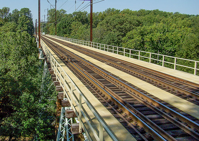 Photo of SEPTA's Crum Creek Viaduct.