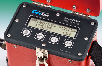Close-up of Model GK-502 Load Cell Readout Box control panel.