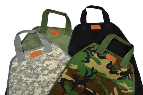 The following fabric options are available: Foliage Green/Digital, Woodland/Camo, Black, and Green Nylon Duck.