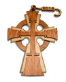 "Laser-cut Wood Ornament  -""Celtic Bell Cross"""