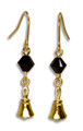 Earrings - miniature handbell with black crystal bead – GV