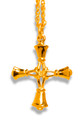 "Handbell Cross Charm & 18"" chain - Med/GV"