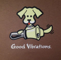 "T-shirt  ""Good Vibrations"" - dog (chestnut brown and royal blue)"
