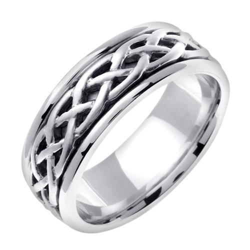 Celtic wedding band 14k white gold gaelic weave ring