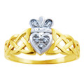 Two-Tone Claddagh Ring with Diamonds and Trinity Band